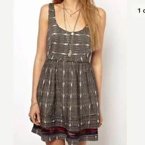Free People Sz 0 gray Aztec summer dress